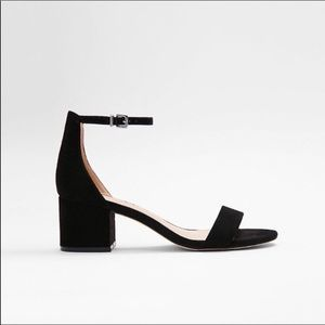NWOT Express Black Suede Block Heel Sandals